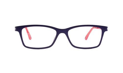 Lentes ópticos | Click-On: Da Luce 304 Ligero | Detalle color rojo en terminal de varilla | Accesorio solar magnético Click-On polaizado