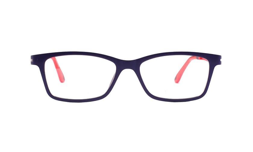 Lentes ópticos   Click-On: Da Luce 304 Ligero   Detalle color rojo en terminal de varilla   Accesorio solar magnético Click-On polaizado
